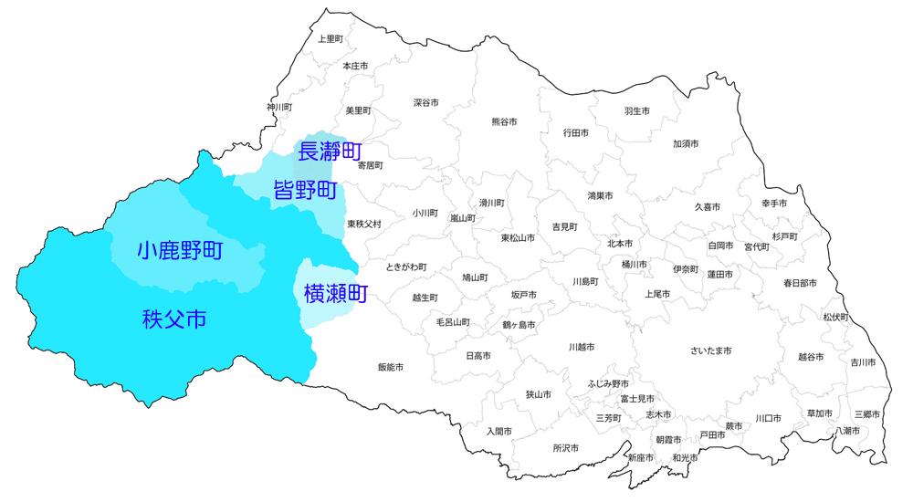 埼玉県秩父地方(秩父市、小鹿野町、横瀬町、長瀞町)の地域地図