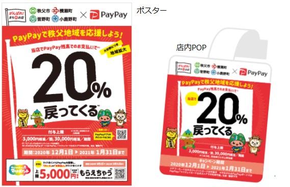 秩父地域のペイペイ20%戻ってくるキャンペーン対象店舗にあるポスターとポップ